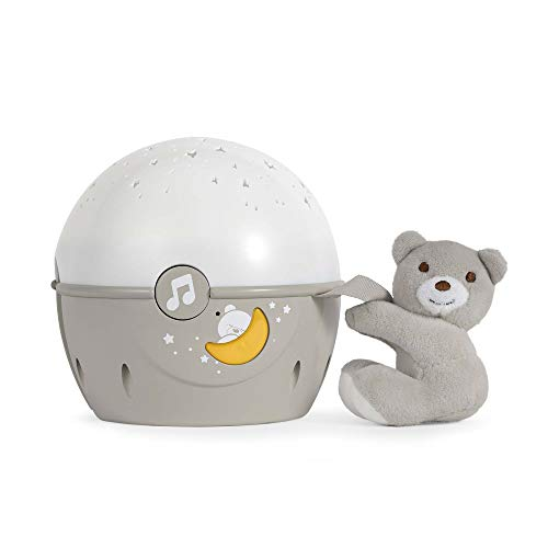 Chicco Next2Stars Baby Night Light with Plush Toy - Star Light Projector for Cots and Cribs, with Sound Sensor, 3 Light Effects and Music - 0+ Months, Beige