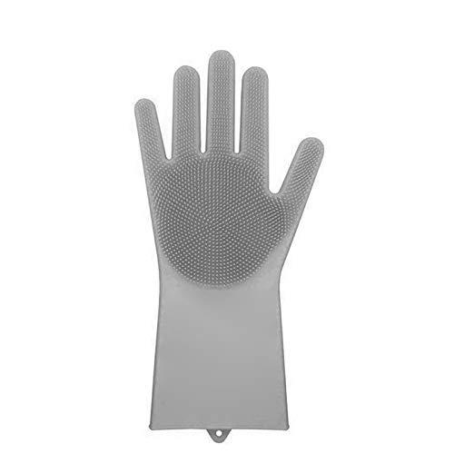 ASOSMOS Magic Silikon-Reinigungsbürsten-Scrubber-Handschuhe Hitzebeständiges Scrub-Tool, 1St