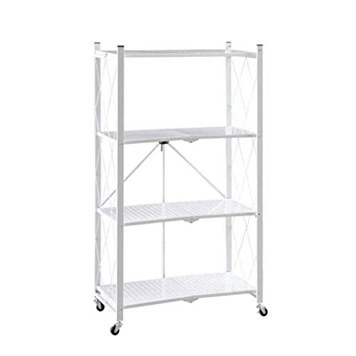 QAQA Storage Trolley Cart, 4 Tier Mobile Storage Rack, Shelving Units For Storag, Shelves Free Standing For Kitchen Bathroom Laundry Office (Color : White, Size : 71 * 34 * 122cm)