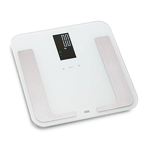 ADE Körperanalysewaage BA 1402 Bella. Digitale Personenwaage im Trend-Design zur präzisen Gewichtsbestimmung. Analyse von Körperfett, Körperwasser, Muskelmasse und Knochenmasse. Inkl Batterie. Weiß