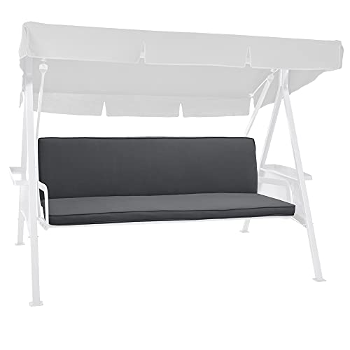 Beautissu Hollywoodschaukel Auflage Loft HS 180x50cm Polster Auflagen für 3-Sitzer Hollywoodschaukel mit Rückenkissen Polsterauflage Sitzpolster Graphitgrau