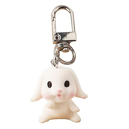 rickie_cao Llavero de conejo de dibujos animados para niña, llavero de coche bonito, bolso de estudiante para Airpods, colgante de moda, pequeño adorno, regalo de pareja