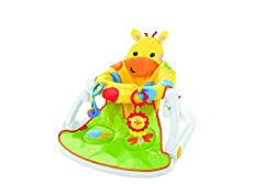 ​Supports babies in an upright position (Hello, world) Soft fabric giraffe seat is cute, comfortable and supportive ​Removable snack tray features two linkable activity toys, a lion rattle and clacker rings ​Wide, sturdy base helps keep baby comfy an...