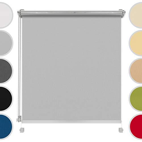 4dekor Estores para ventanas sin taladrar a medida, Estor opacos térmico, Capa plateada para protección UV, Persianas enrollables interior,