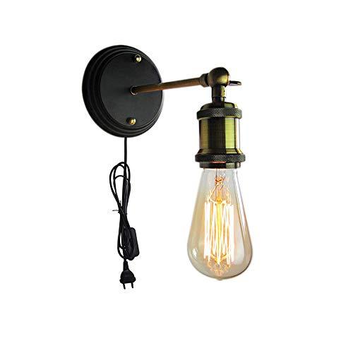 Addison Vintage Industrie innen Wandleuchte Retro Nachttischlampe, 1.8Meter Kabel mit Kabel und EU-Stecker, Schwenkbar Industrielampe, Loft Wandlampe Deckenleuchte, E27-Fassung