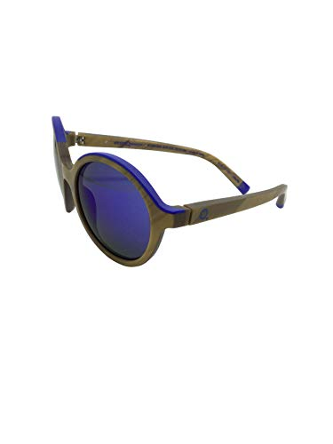 ETNIA BARCELONA KLEIN 01 GDBL 51,occhiali da sole tondi unisex, montatura in legno effetto acetato, lenti verdi specchiate in blu klein.