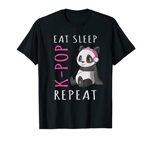 Eat Sleep K-Pop Repeat Panda T-Shirt