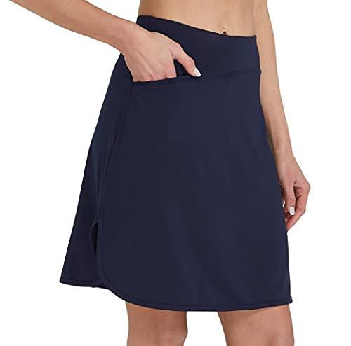 Cityoung Women's Modest Skirt Running Workout Mid Length Skort Pocket Active Sport Shorts XL ny Navy