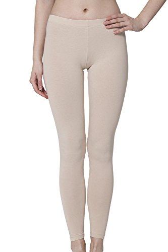 Celodoro Damen Leggings, stretchige Jersey Hose aus Baumwolle - Beige M