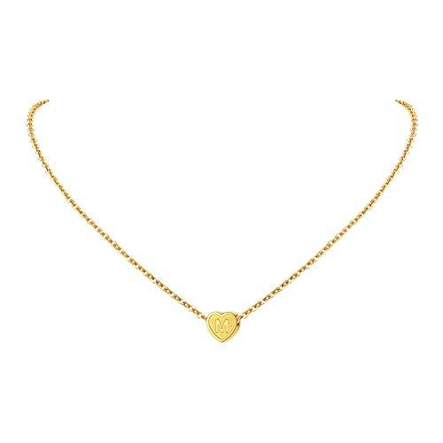 FindChic Mädchen Goldkette mit Buchstabe M Anhänger Freundschafts Namenskette für Paar Pärchen