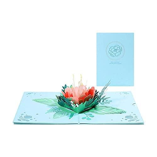 Shanghaiyuming - Tarjeta de felicitación con diseño de peonía en 3D, diseño de flores de peonía, regalo de aniversario de San Valentín, regalo de boda