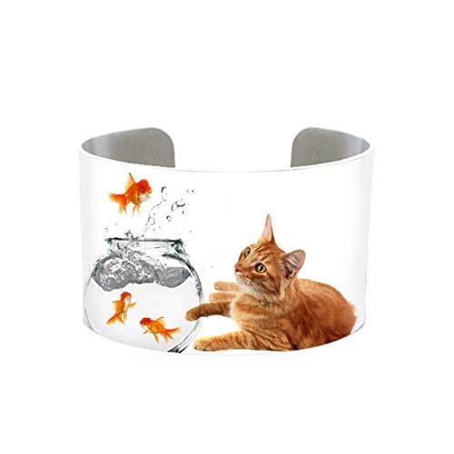 Fashion Kitten Loves Fish Aluminum Cuff Lovely Cute Cats Animals Handmade Adjustable Bangles 4