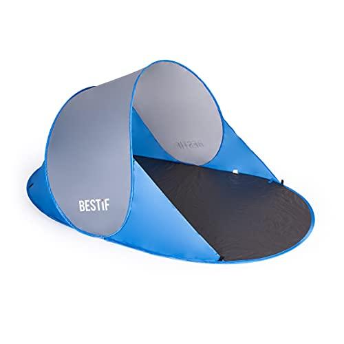 BESTIF Strandmuschel Pop Up Wurfzelt groß | Selbstaufbauend Strandzelt Tragetasche Sonnenschutz Windschutz 190x86x120cm (Blau-Grau)