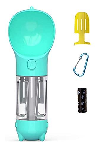 LIXSLT Botella de agua para perro, ligera, portátil, para caminar, multifuncional, para viajes, con bolsa ecológica y pala al aire libre, senderismo, actividades (color: Bule)
