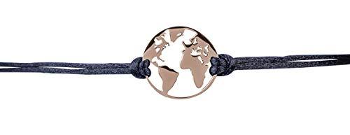 Traumfänger Armband mymoments Weltkarte rosé/schwarz Material Edelstahl mit IP-Beschichtung