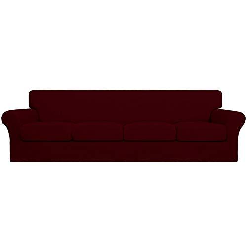 Easy-Going 5 piezas de gran tamaño elástico suave funda de sofá de 4 plazas para perros – Funda de sofá lavable para 4 cojines separados – Protector de muebles elástico para mascotas, niños vino