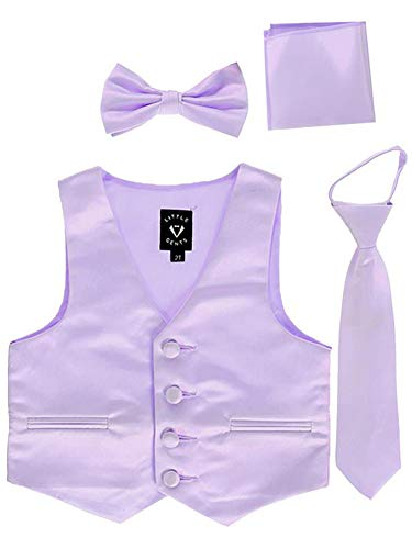 Lilac Little Boys 4 Piece Formal Satin Vest Set Zipper Tie Bowtie Hanky 5