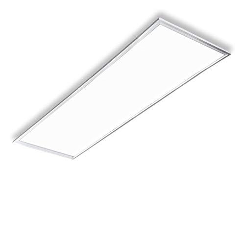 Vkele LED Panel Deckenleuchte 120x30cm Kaltweiß 6000K 48W 4600 lumen, Silberrahmen Led Panel Deckenleuchte, LED-Lampe, Panelleuchte, Deckenlampe für Schlafzimmer, Esszimmer, Wohnzimmer