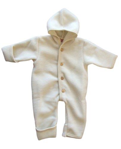Engel-Natur Baby Overall mit Kapuze aus Bio Schurwoll-Fleece, Natur, Gr. 50/56