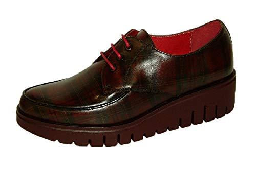 Vitelo 8238, Zapato Mujer Cordon Piel Cuadro escoces, Piso Volumen Ligero