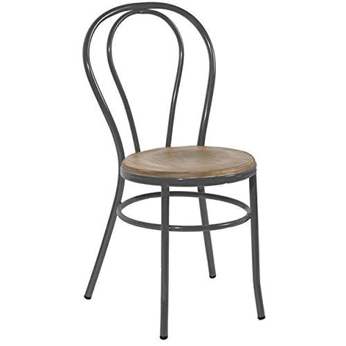 ADDECOR Sillas Comedor de Color Negro | 89 × 36 × 40 cm | Silla para Salón Hecha de Hierro y Madera | Modelo Edna | Sillas Comedor Ideales para Proyectos de Hostelería
