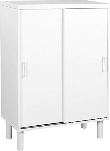 VASAGLE | Schrank für Flur, Schuhschrank mit Schiebetüren & höhenverstellbare Einlegeböden, 100 x 70 x 35 cm | Weiß
