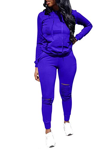 Women Casual Ripped Hole Pullover Hoodie Sweatpants 2 Piece Sport Jumpsuits Outfits Set (Blue, L)
