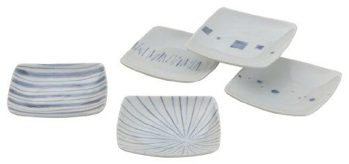 西海陶器 角 小皿 幾何紋 染付 化粧箱入 日本製 10.5 cm 5枚 セット 31797-角小皿揃