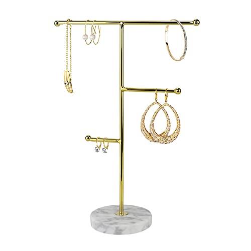 IWILCS Soporte para joyas, soporte de exhibición de collares de mármol, organizador de joyas para colgar, para el hogar, con patrón de mármol, bandeja redonda para joyas, para collares, pulseras