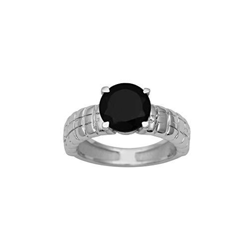 Shine Jewel Anillo Solitario de Plata de Ley engastado con Piedras Preciosas de ónix Negro Brillante Redondo con Piedras Preciosas (M 1/2)