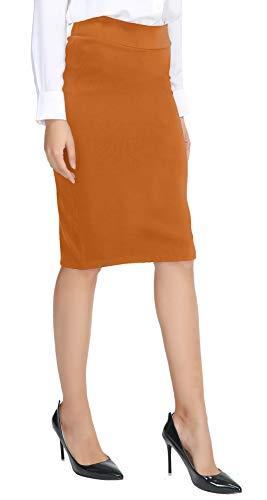 Urban CoCo Women's Elastic Waist Stretch Bodycon Midi Pencil Skirt (XL, Brick Yellow)