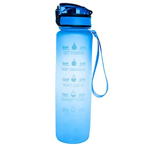 LIBAITIAN 1 Litro Botella De Agua Deportiva con Marcador De Tiempo Motivacional, Filtro De Infusor De Frutas De Limpieza, A Prueba De Fugas, PláStico Tritan Sin BPA