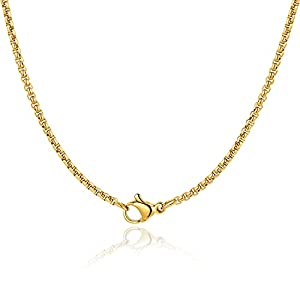 Andsion Silver Chain Gold Chain for Men Women Boys Chain Necklace 18K Gold Plated 2mm Rolo Chains For Men Silver Chains for Women Upgraded Ring & Clasp Chains Jewelry Gifts 18/20/22/24/26 Inch