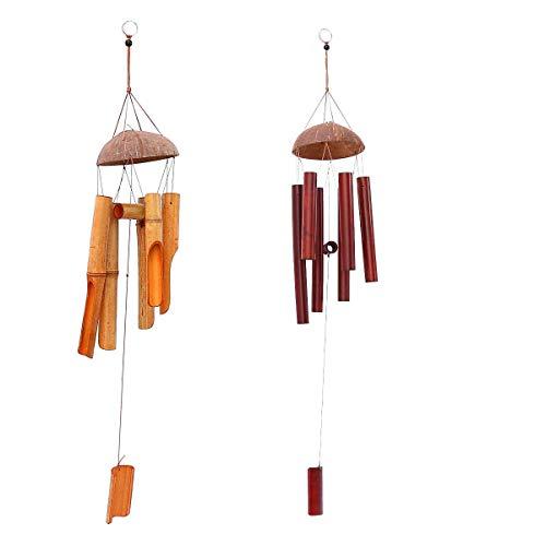 Windspiel 2er Set für Draußen - Glockenspiel für Garten und Balkon - Holz Klangspiel mit Kokosnuss und tollem Klang - sorgt für eine beruhigende und entspannte Atmosphäre (Set)
