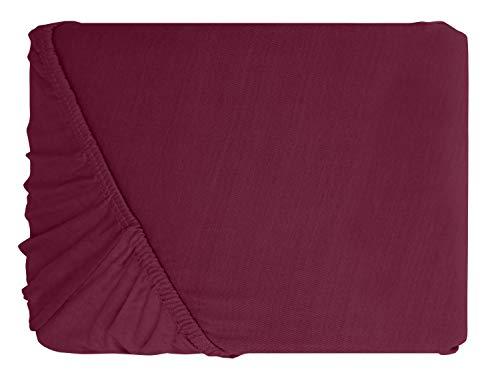 npluseins klassisches Jersey Spannbetttuch – erhältlich in 34 modernen Farben und 6 verschiedenen Größen – 100% Baumwolle, 70 x 140 cm, pflaume - 2