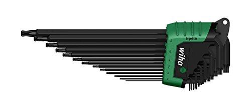 Wiha TORX Kugelkopf, schwenkbar für schwer zugängliche Bereiche,  Stiftschlüsselsatz im ErgoStar Halter zum Auffechern der einzelnen Schlüssel/ Stiftschlüssel-Set mit Sechskant-Klingen und Kugelkopf, schwenkbar für schwer zugängliche Bereiche,  in praktischer Halterung / Brüniert, 13 teilig