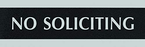 Headline Sign 4758 Century Series Office Sign, NO SOLICITING, 9 x 3, Black/Silver