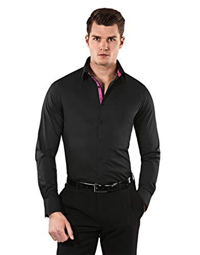 Vincenzo Boretti Herren-Hemd Body-Fit (besonders Slim-fit tailliert) Uni-Farben bügelleicht - Männer lang-arm Hemden für Anzug Krawatte Business Hochzeit Freizeit schwarz/weinrot 39/40