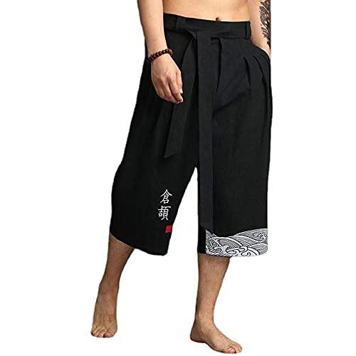 Kimono japonés tradicional pantalones para hombre, ropa asiática, pantalones de baño, casual, sueltos, estilo japonés, pantalones de lino recortados (color: negro, tamaño: 2XL)