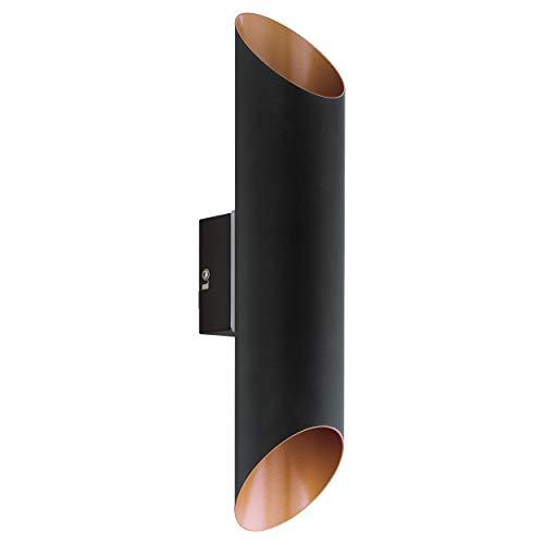 EGLO LED Außen-Wandlampe Agolada, 2 flammige Außenleuchte, Wandleuchte aus verzinktem Stahl, Farbe: Schwarz, kupfer, IP44