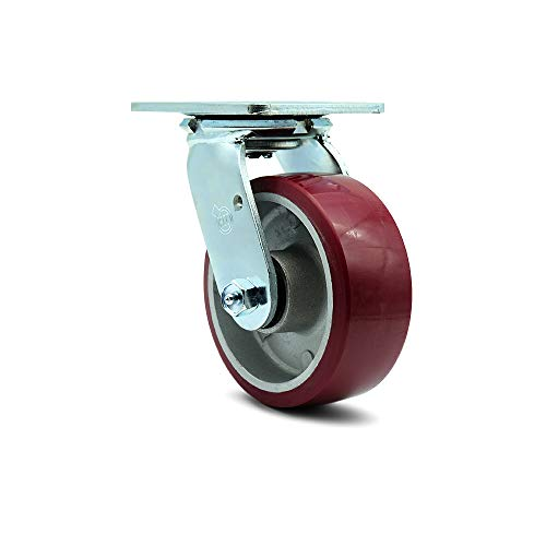 """Polyurethane on Aluminum Swivel Top Plate Caster w/5"""" x 2"""" Maroon Wheel - 900 lbs Capacity/Caster - Service Caster Brand"""