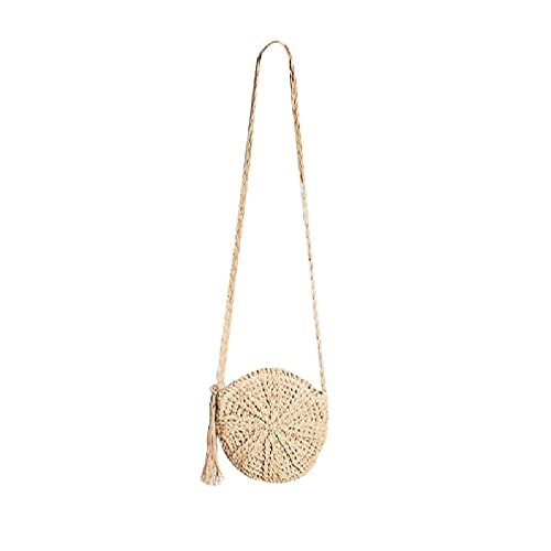 JINGDU - Bolso bandolera de paja para mujer, estilo retro, con asa de fondo redonda, con borlas, bolsa de herramientas, saco de dormir, bolsa de dormir, bolsa de almuerzo