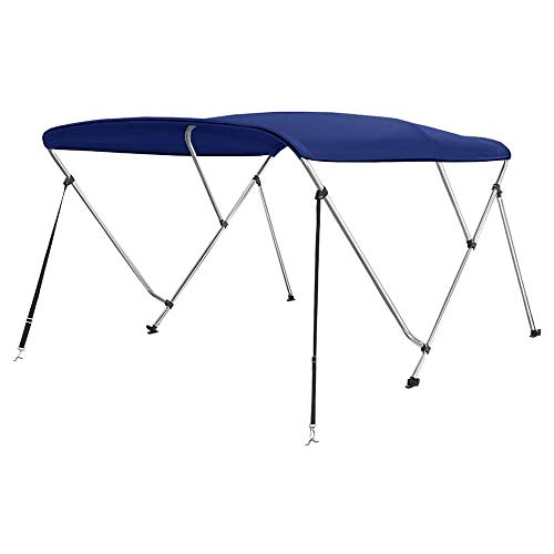 """Seamander 3-4 Bow Bimini Boat Top Cover,Boat Accessories,Boat Canopy with Mounting Hardware, Rear Support Pole with Storage Boot(3 Bow 6'L x 46"""" H x 67""""-72"""" W Navy Blue)"""