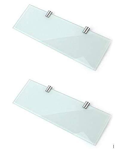 Set di 2 mensole in vetro bianco per bagno, cucina, camera da letto, 300 mm x 100 mm