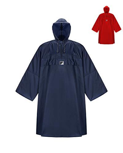 HOCK Wander Regenponcho \'Wetter AS Klima\' mit Langen Ärmeln - Der Atmungsaktive Wanderponcho für Damen und Herren - Regencape für Wandern mit Rucksack - Blau - L