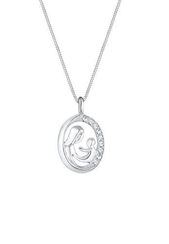 Elli Halskette Mutter Kind Figur Swarovski® Kristalle 925 Silber