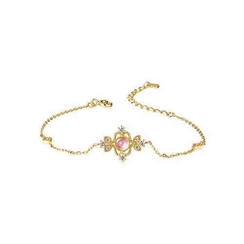 BENHAI Ajustable Mujer 925 Plata Pulsera, Incrustaciones De Cristal Rosa De 4 Mm Joyería Regalo para Mujer De Amor Regalos para Mujeres Mamá Niñas