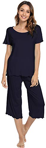 WiWi Bamboo Pajamas for Women Soft Pajama Sets Short Sleeves Top with Capri Pants Pjs Plus Size Loungewear S-4X, Navy, XX-Large