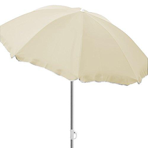 FineHome Ombrellone da spiaggia, Ø 2 m, ombrellone da giardino, pieghevole, in poliestere, beige, con protezione UV
