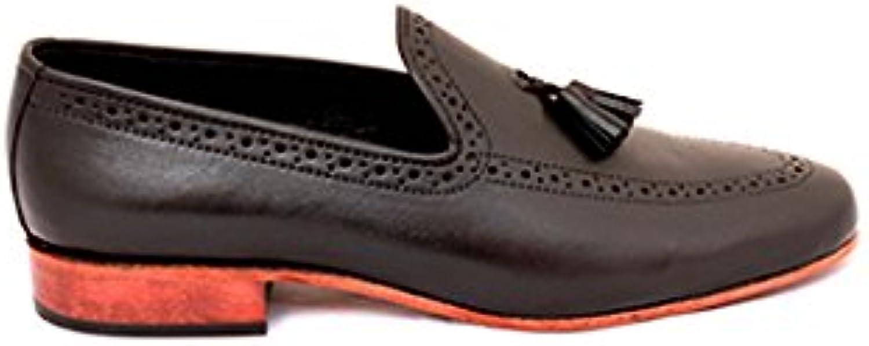 TAAVETTI Men's Casual Black Handmade Leather Bort
